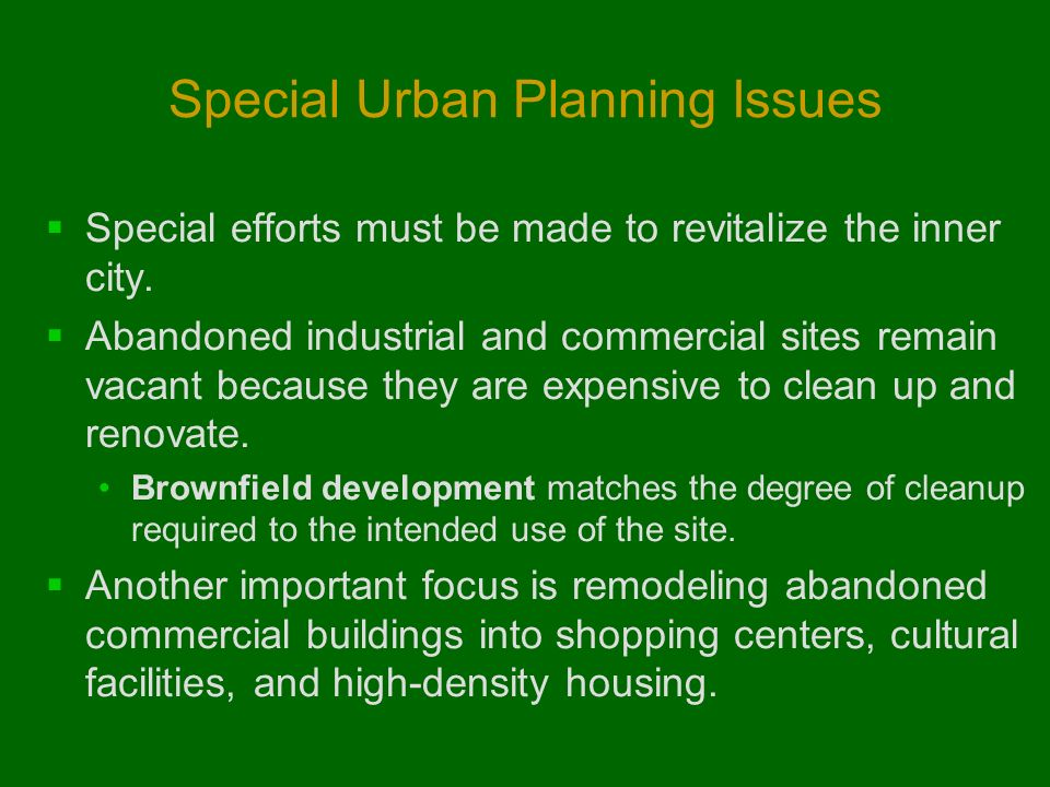 Special Urban Planning Issues
