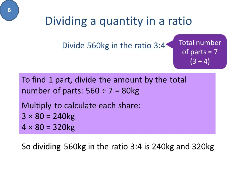 how to find the ratio of a total number