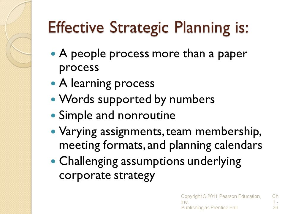 Effective Strategic Planning is: