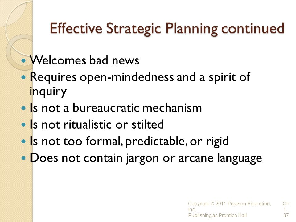 Effective Strategic Planning continued