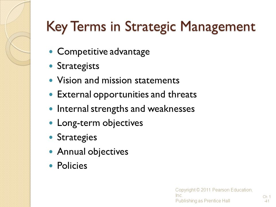 Key Terms in Strategic Management