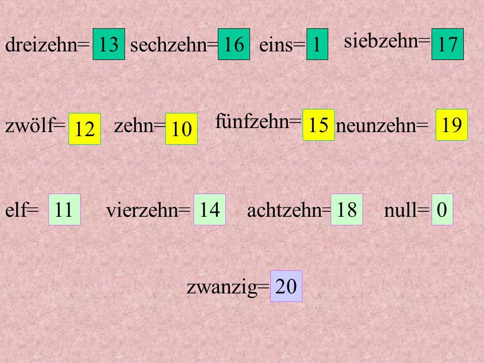 siebzehn= dreizehn= 13. sechzehn= 16. eins= 1. 17. fünfzehn= zwölf= zehn= 15. neunzehn= 19.