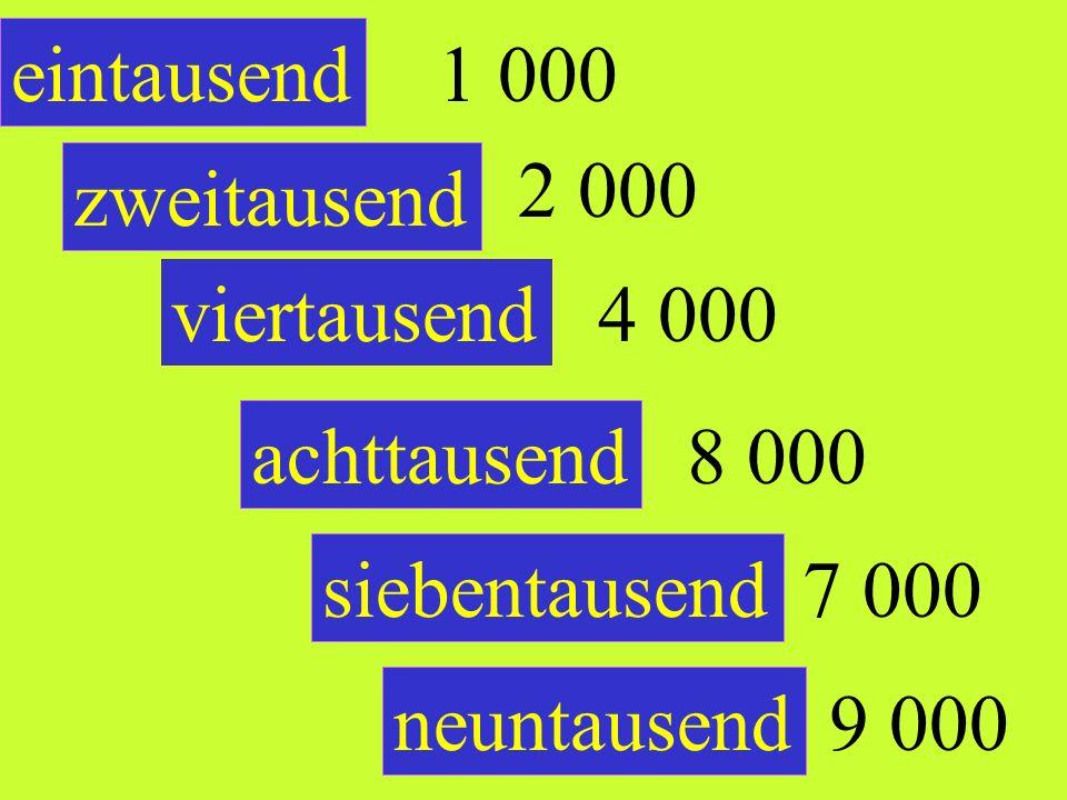 eintausend 1 000. 2 000. zweitausend. viertausend. 4 000. achttausend. 8 000. siebentausend.
