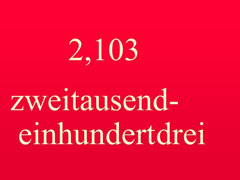 2,103 zweitausend- einhundert drei