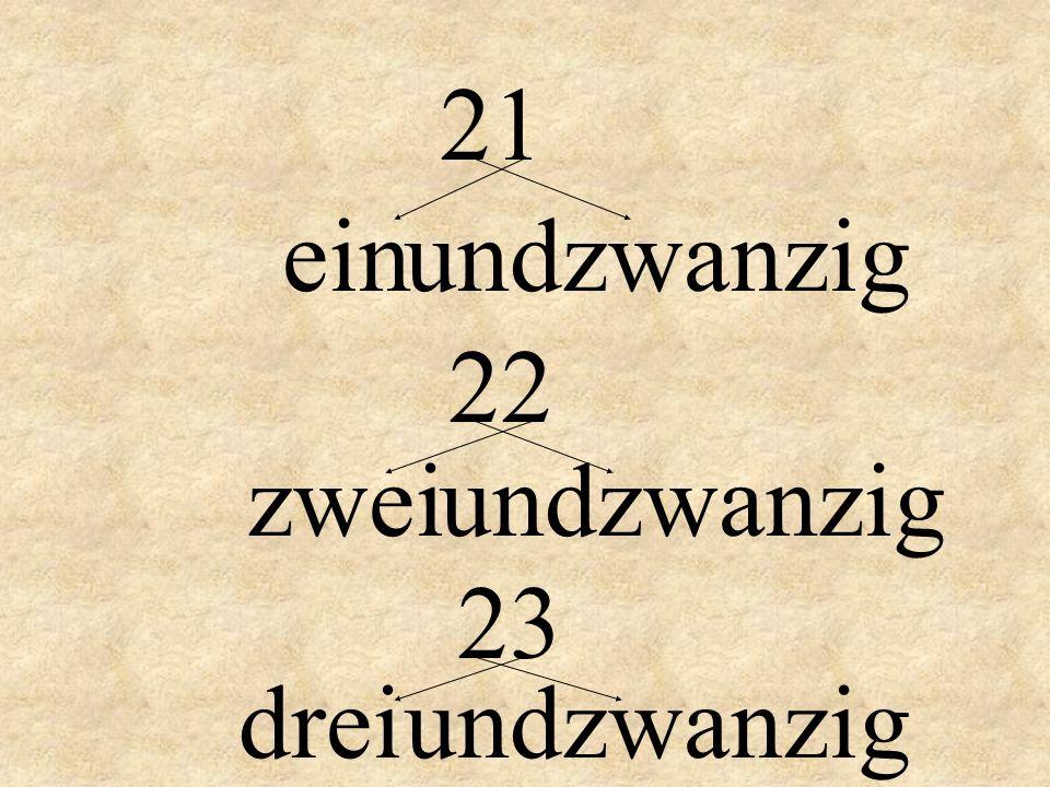 21 ein und zwanzig 22 zwei und zwanzig 23 drei und zwanzig
