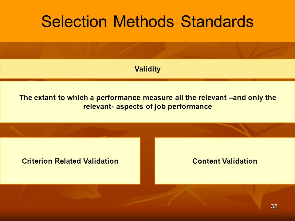 selection method standards Types of selection methods  the value of the employment interview as a selection method will increase if these guidelines are followed: 1.