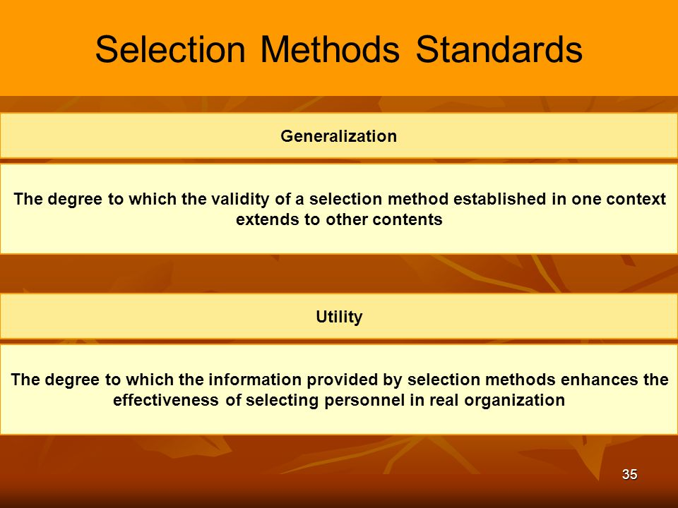 selection method standards Selection to ensure equity and adherence to equal opportunity and other laws documenting the organisation's policy on recruitment, the criteria to be utilised, and all the steps in the recruiting process is as necessary in the seemingly informal setting of in.