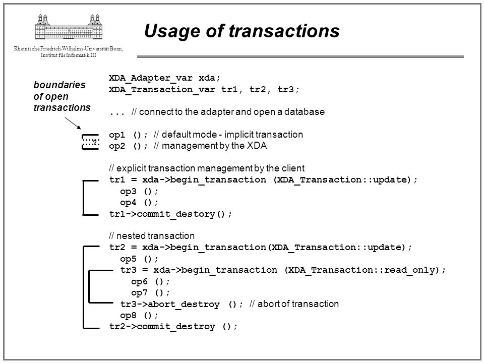 Usage of transactions XDA_Adapter_var xda;