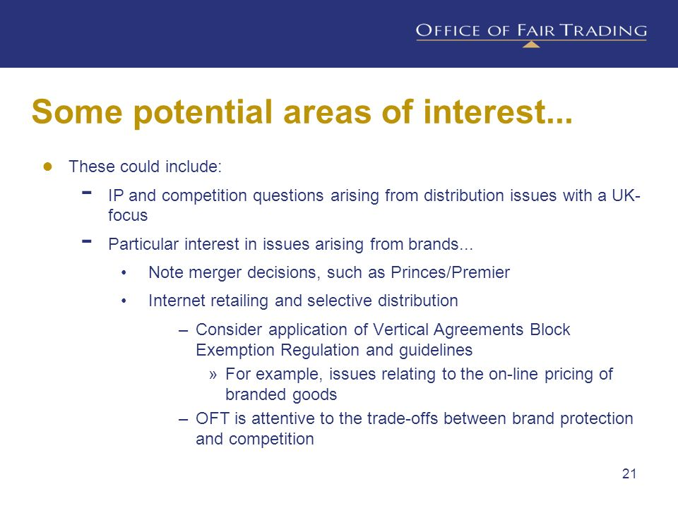 Some potential areas of interest...