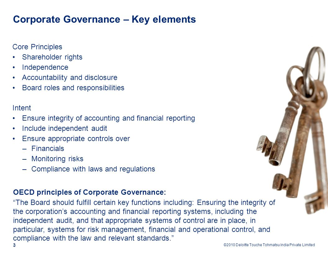 essential elements of corporate governance 1 introduction recent research on corporate governance around the world has established a number of empirical regularitiessuch diverse elements of countries'nancial.
