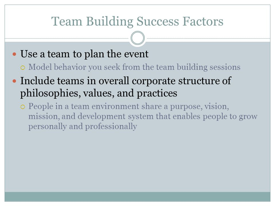 Team Building Success Factors