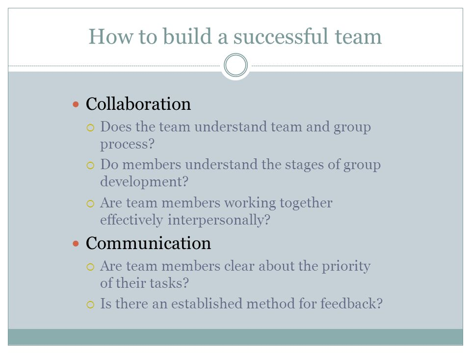How to build a successful team