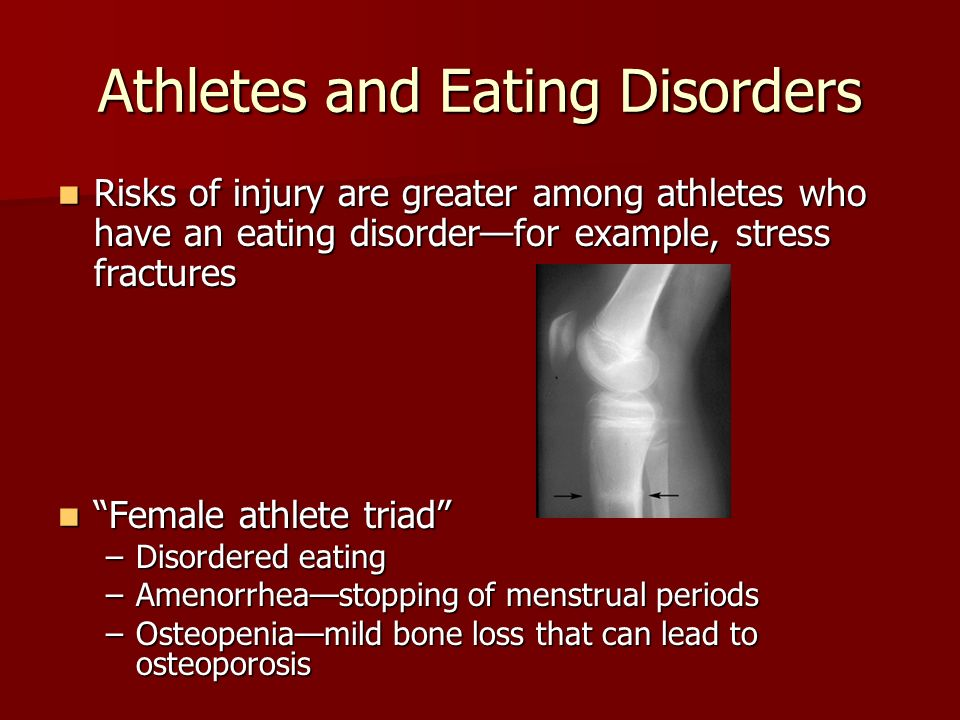 understanding the growing problem of eating disorders among athletes Eating disorders in sport and fitness: understand eating disorders what to do if you suspect an athlete has an eating disorder.