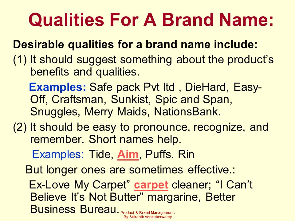 Qualities For A Brand Name: