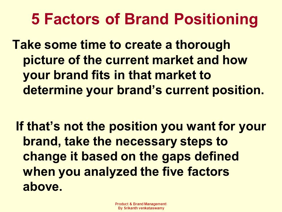 5 Factors of Brand Positioning