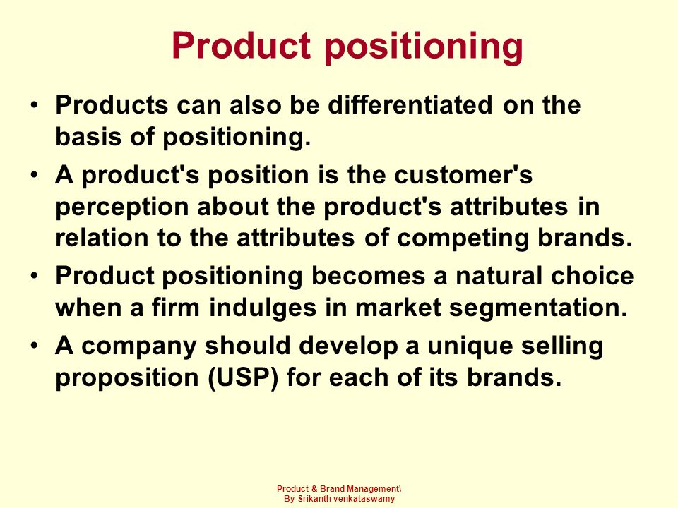 Product & Brand Management\ By Srikanth venkataswamy
