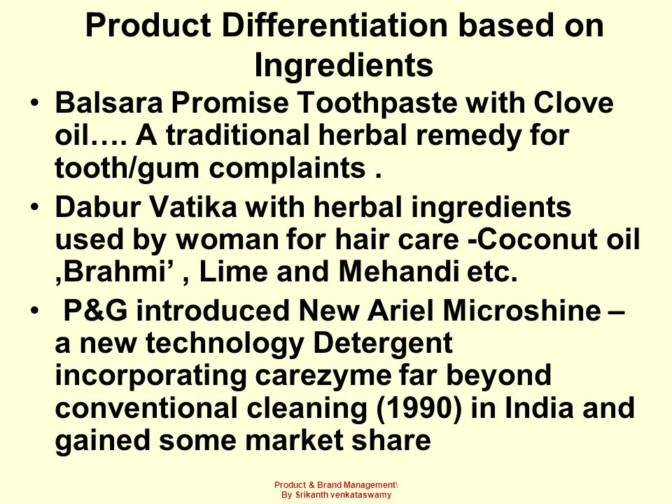 Product Differentiation based on Ingredients