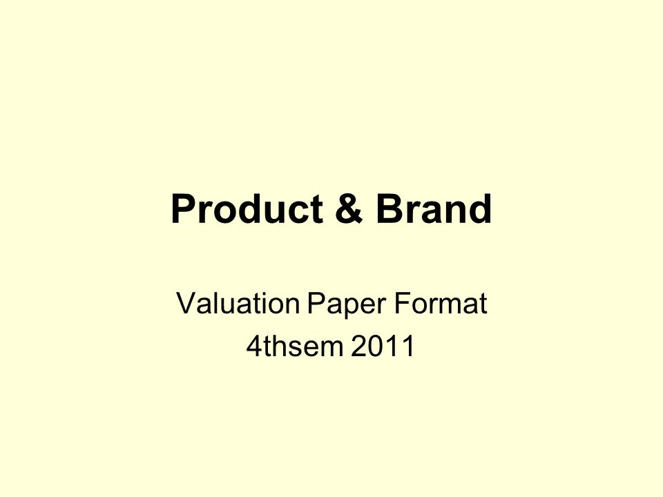 Valuation Paper Format 4thsem 2011