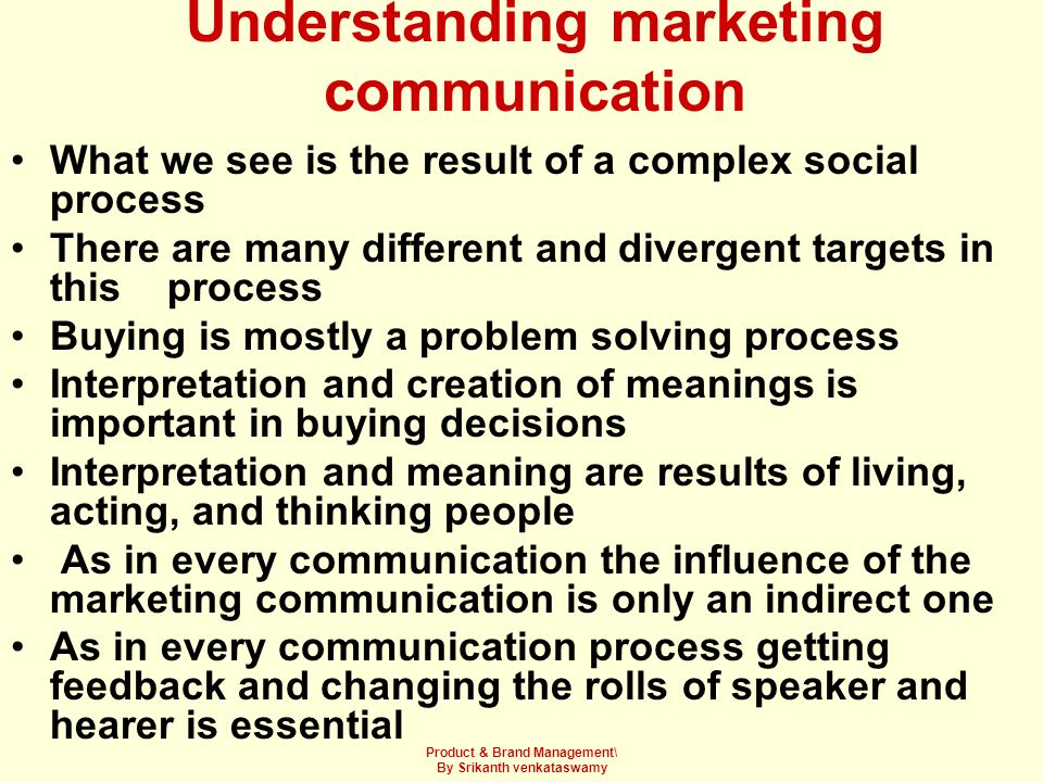 Understanding marketing communication