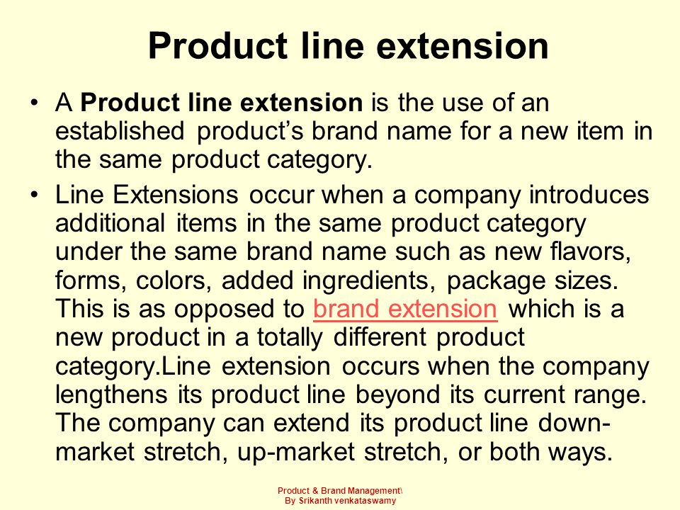 Product line extension