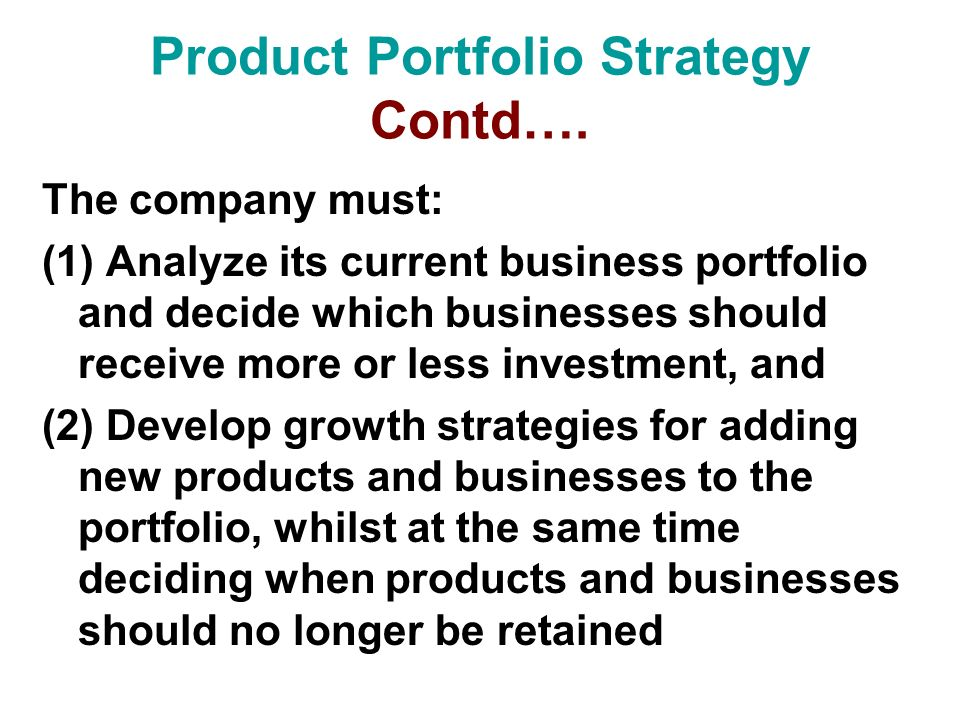 Product Portfolio Strategy Contd….