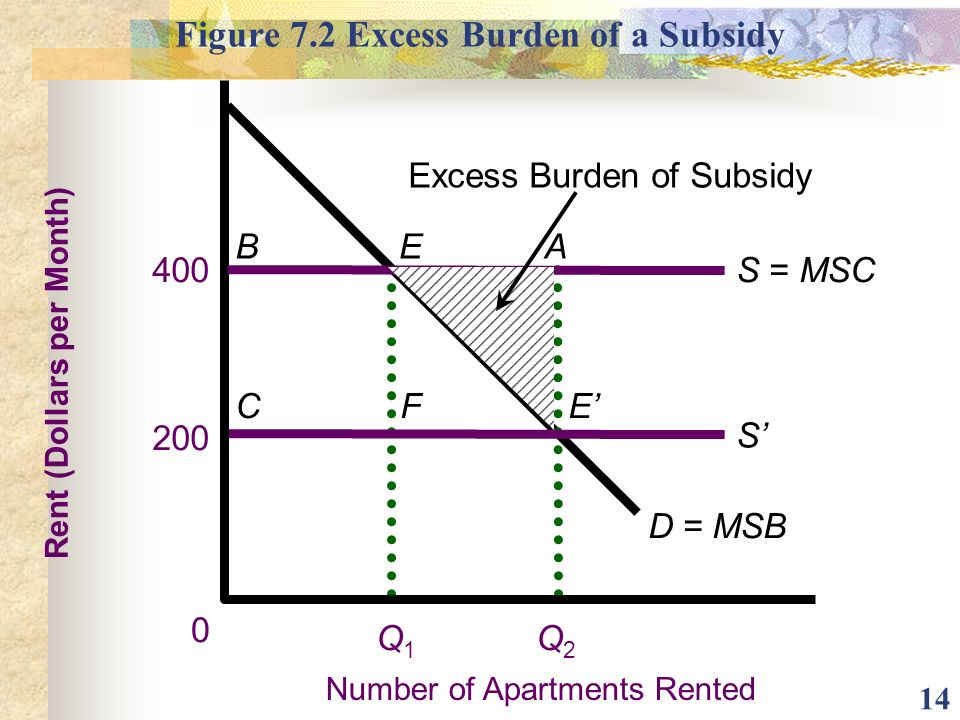 Figure 7.2 Excess Burden of a Subsidy