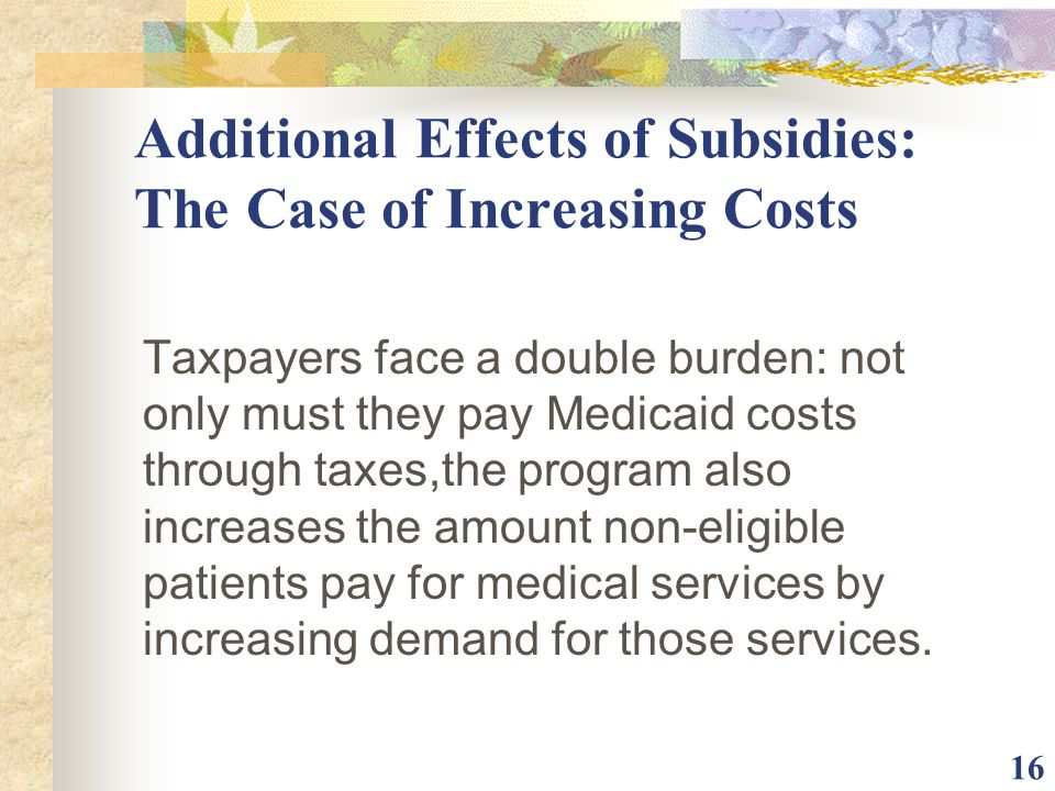 Additional Effects of Subsidies: The Case of Increasing Costs