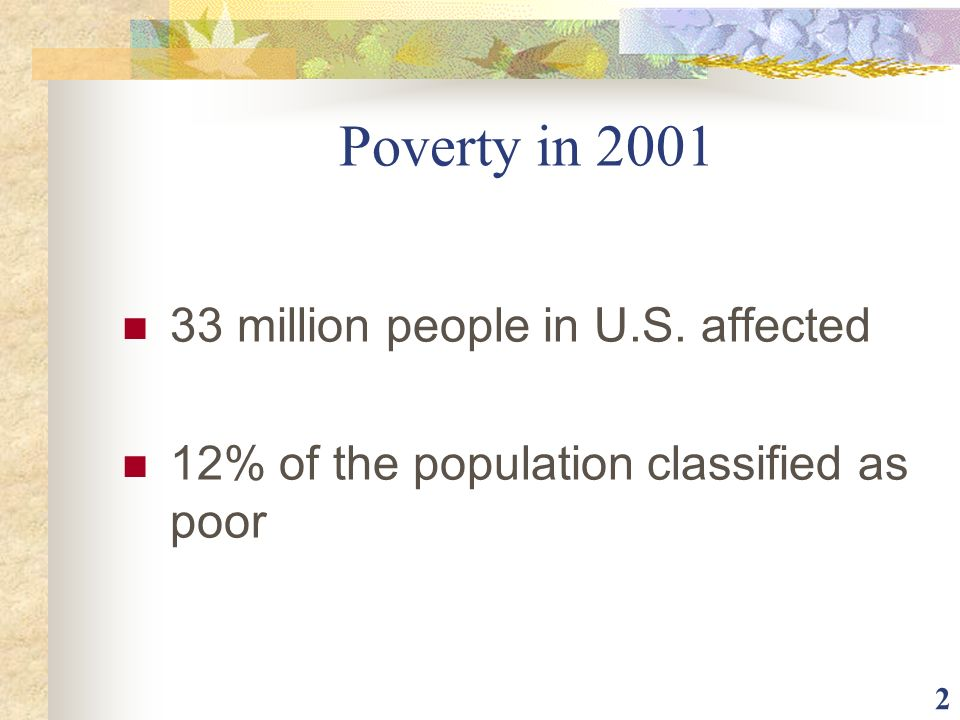 Poverty in million people in U.S. affected