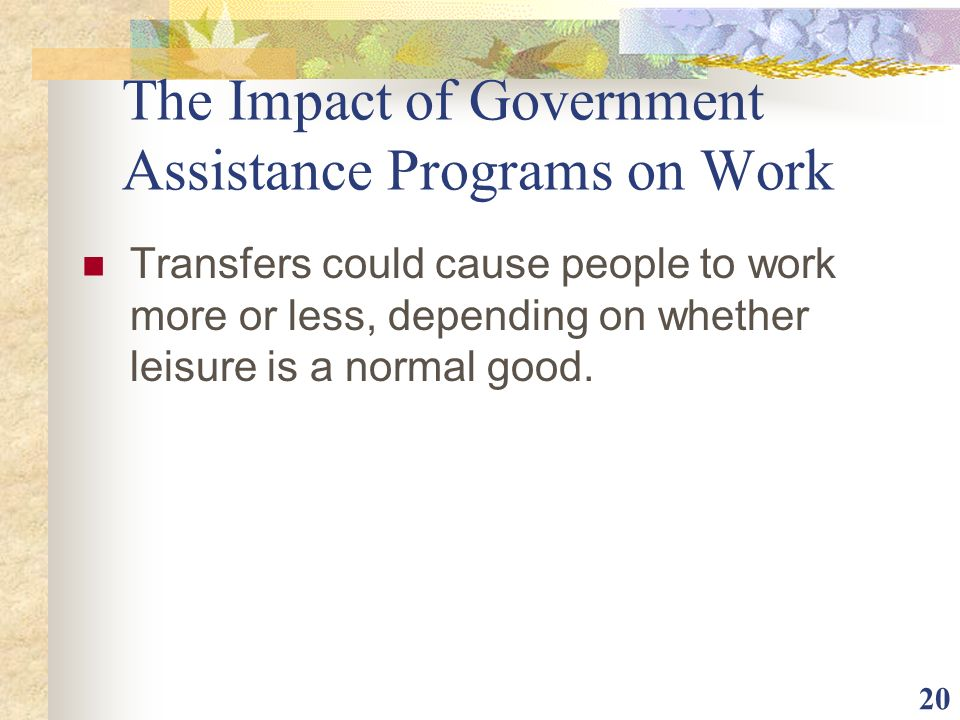 The Impact of Government Assistance Programs on Work
