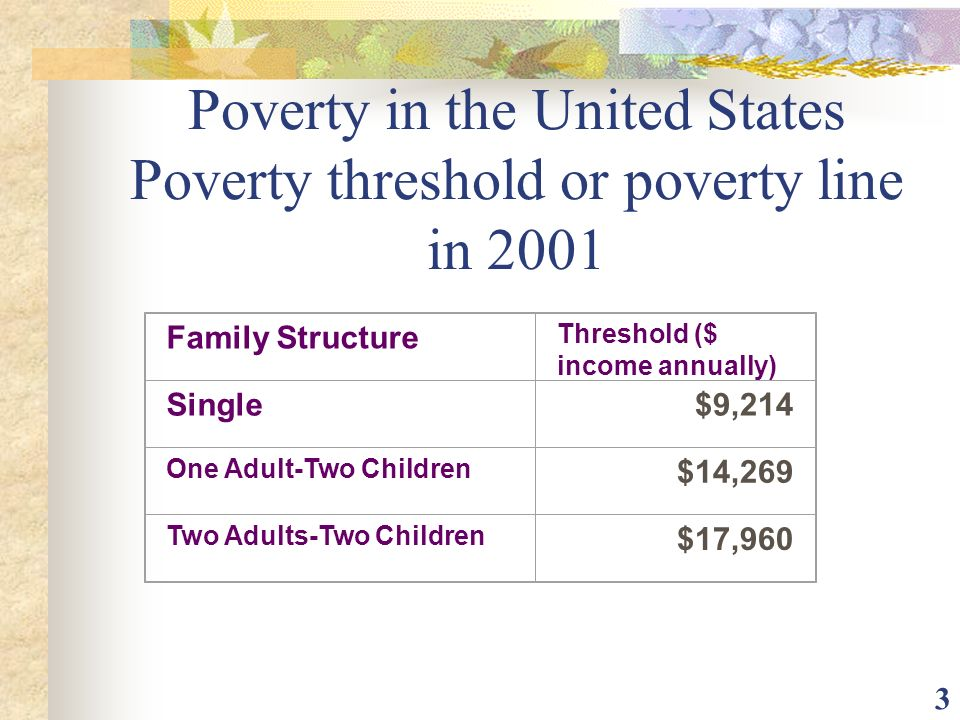 Poverty in the United States Poverty threshold or poverty line in 2001