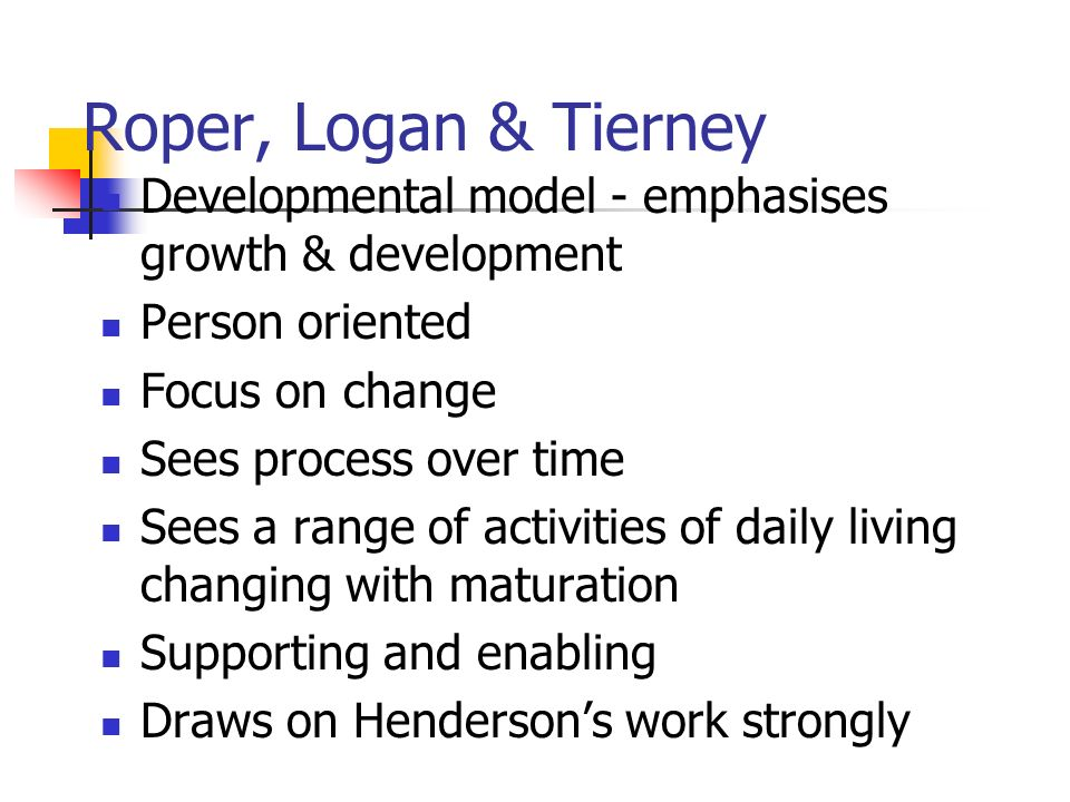 breathing roper logan tierney Get this from a library applying the roper-logan-tierney model in practice [karen holland] -- 'applying the roper-logan-tierney model in practice' has been written to enable students and their teachers (in higher education and clinical practice) to explore the different dimensions of the.