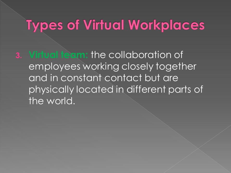 virtual workplace The article examines the applicability of vischer's model of comfort and fit for  classifying the features of virtual workplaces used in mobile work.