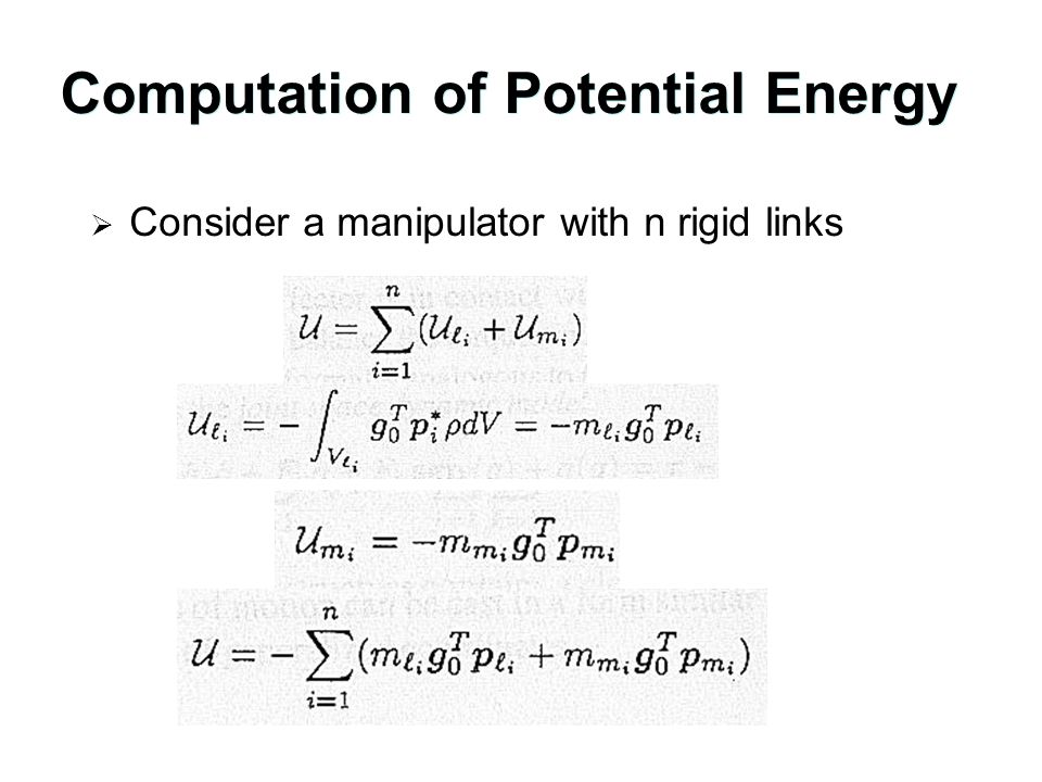 Computation of Potential Energy