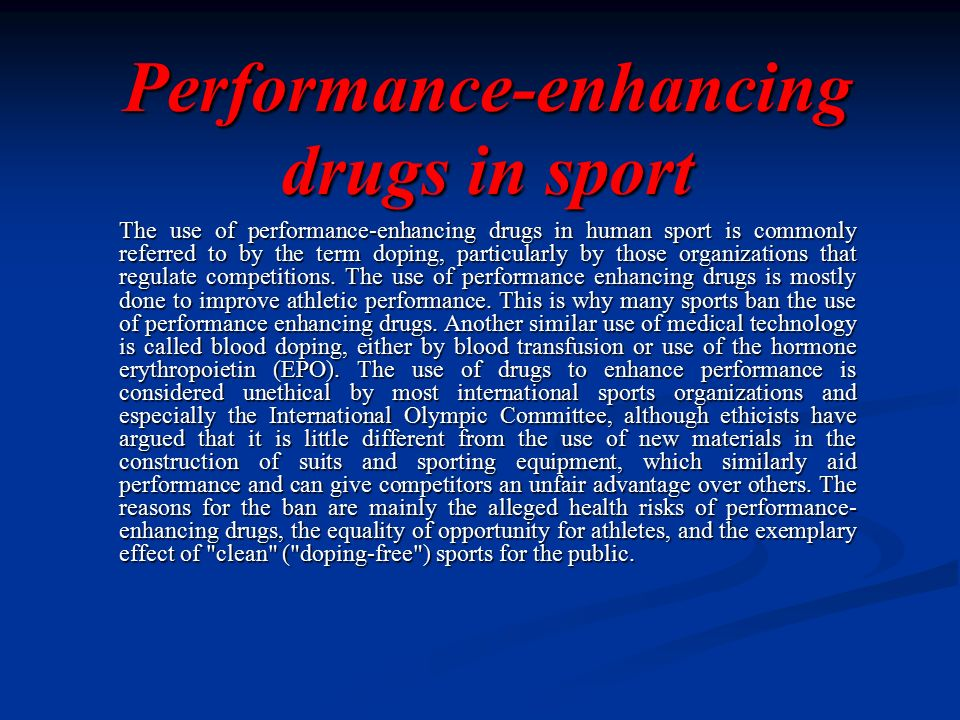 A study of the different effects of performance enhancing drugs