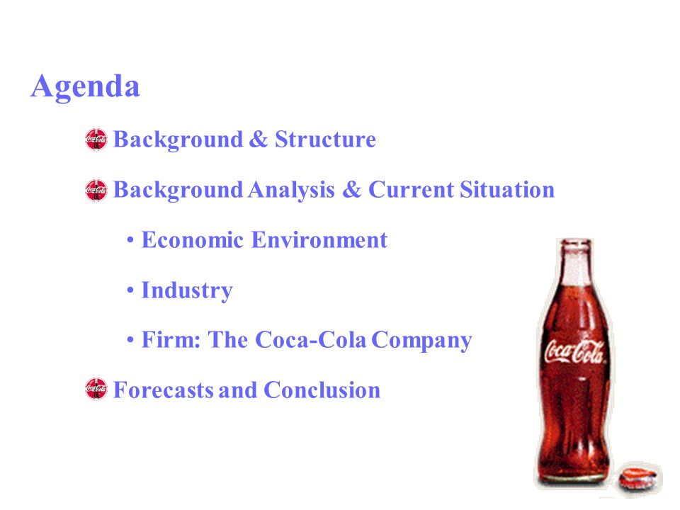 an analysis of the market background of coca cola company Coca- financial analysis project – final paper 6 cola's competitive strengths include leading brands with a high level of consumer acceptance a worldwide network of bottlers and distributors of company products sophisticated marketing capabilities and a talented group of dedicated associates.