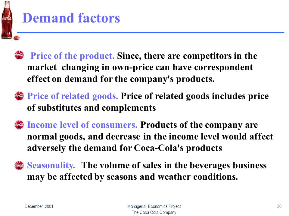 How economic indicators affect coca cola