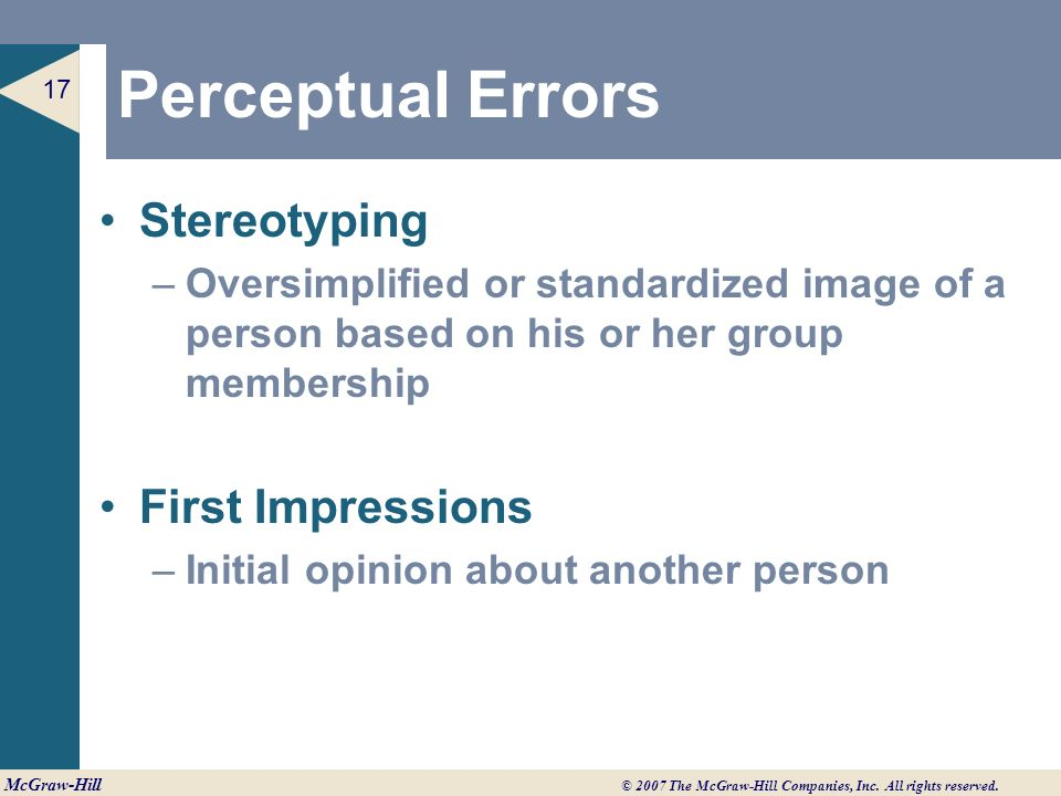what are the major perceptual errors Essays - largest database of quality sample essays and research papers on five common perceptual errors.