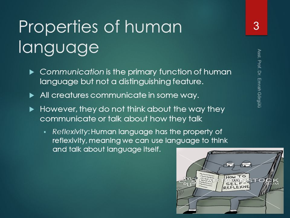 properties of human language The properties of human language  not writing most languages lack a written form but all human groups have a spoken language many people are illiterate.