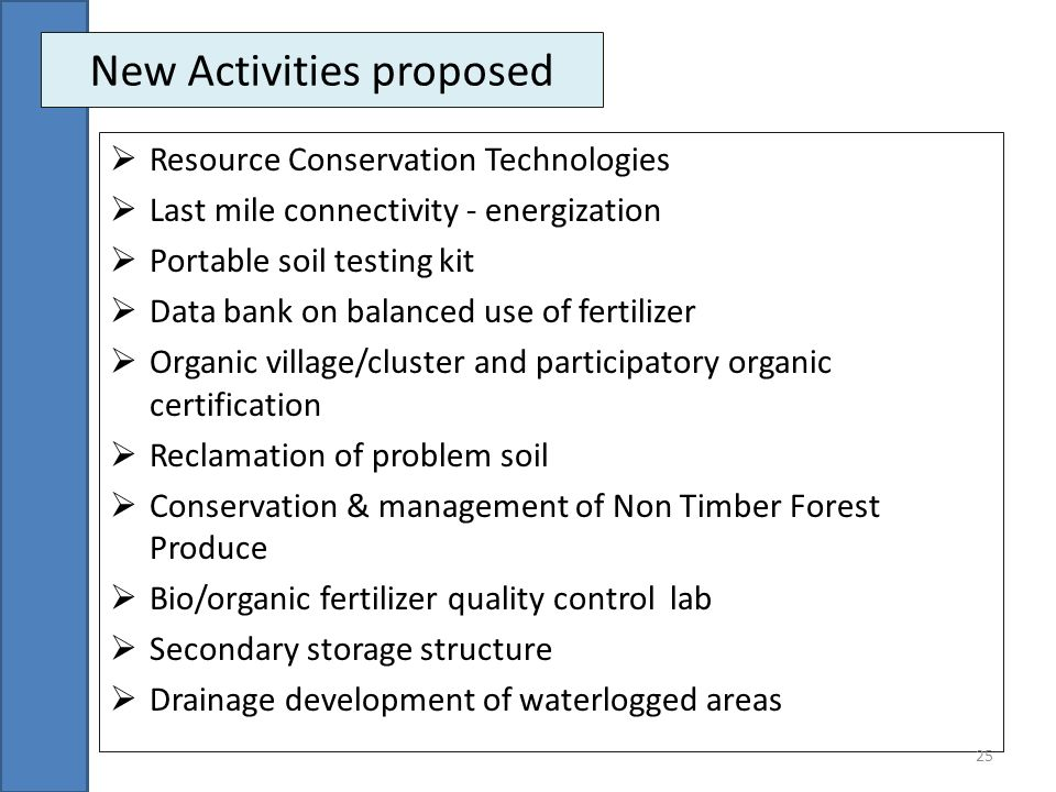 New Activities proposed