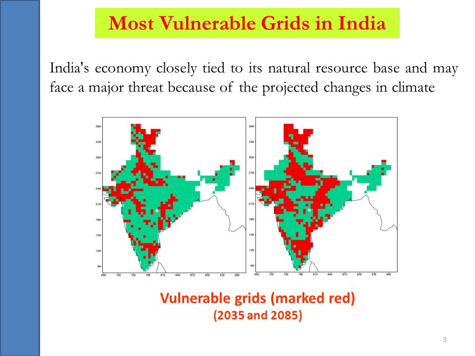 Most Vulnerable Grids in India Vulnerable grids (marked red)