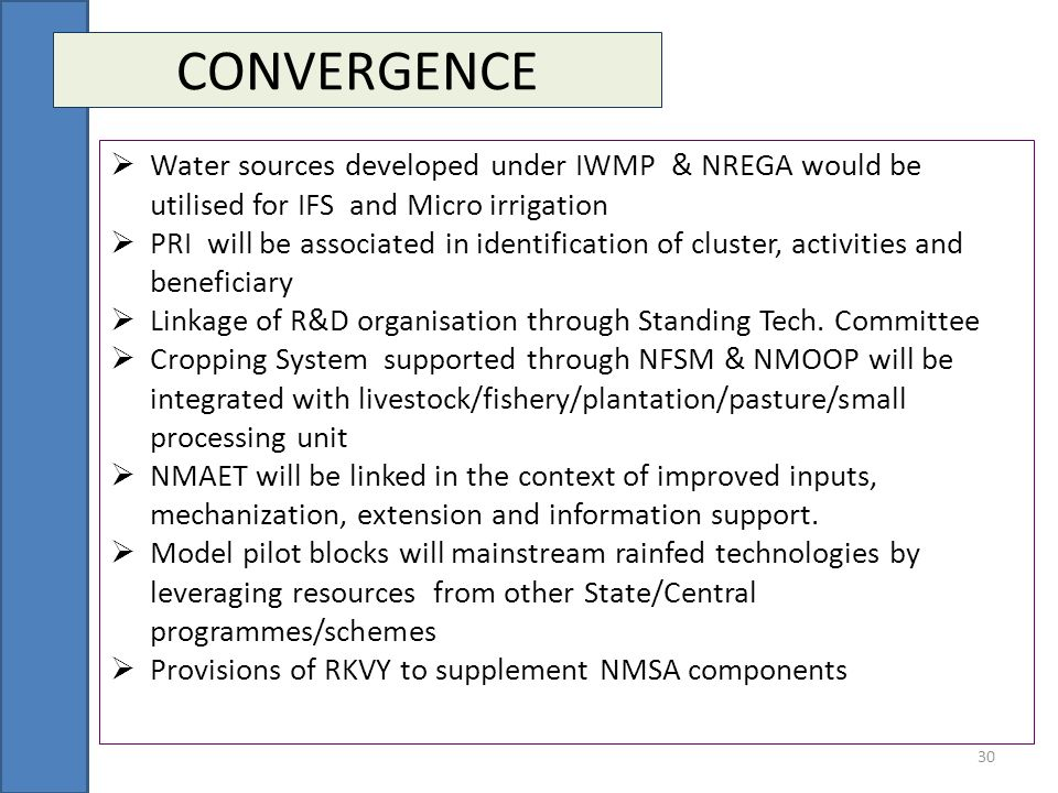 CONVERGENCE Water sources developed under IWMP & NREGA would be utilised for IFS and Micro irrigation.