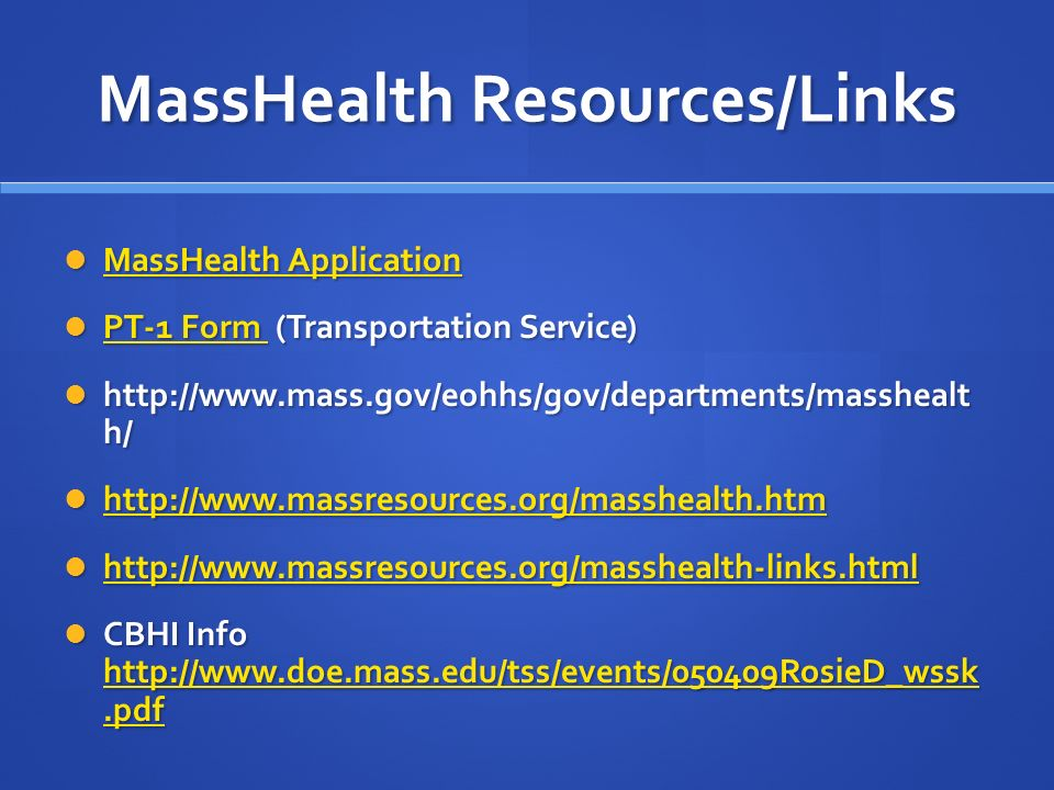 MassHealth 101: An Integrative Perspective - ppt download
