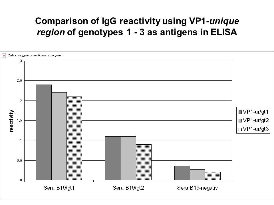 Comparison of IgG reactivity using VP1-unique region of genotypes 1 - 3 as antigens in ELISA
