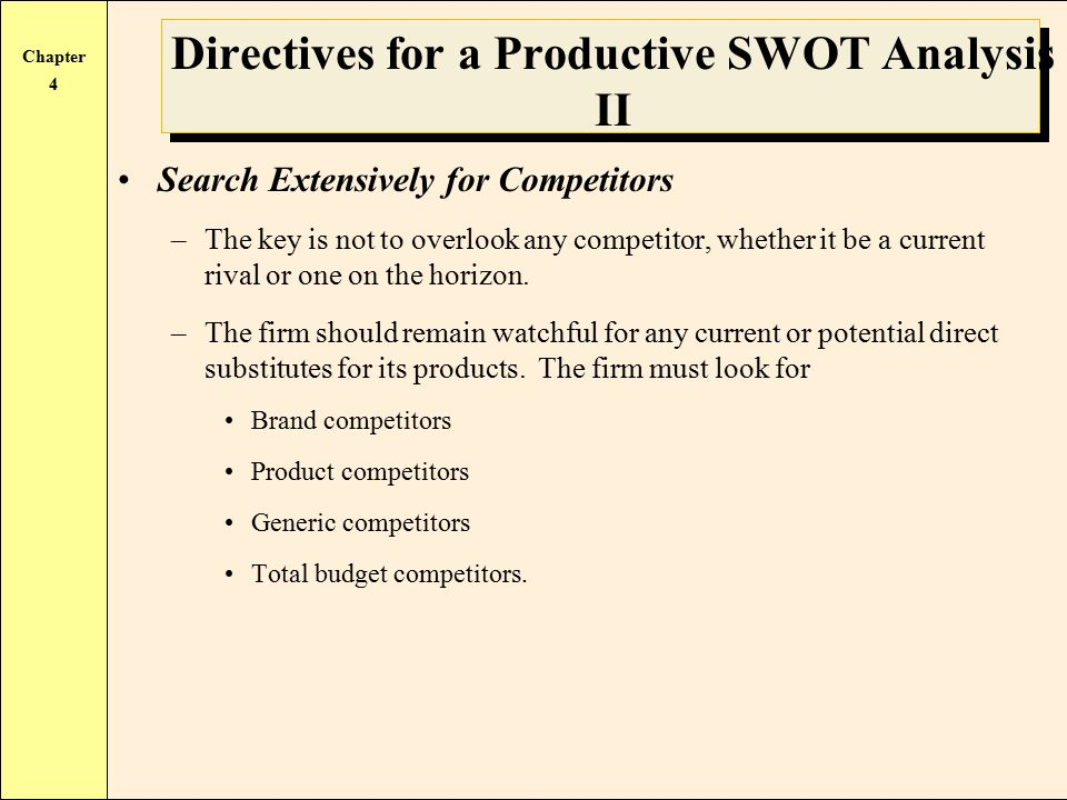 directives for a productive swot analysis Before releasing a new product, swot analysis – strengths, weaknesses, opportunities and threats – is an excellent way to address the four marketing pillars of price, product , promotion and .