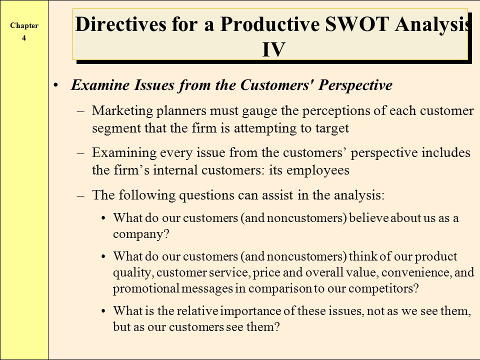 directives for a productive swot analysis Restaurants ought to make bigger napkins, since some of the most productive business ideas seem to come to mind over a meal the swot analysis technique lends itself.