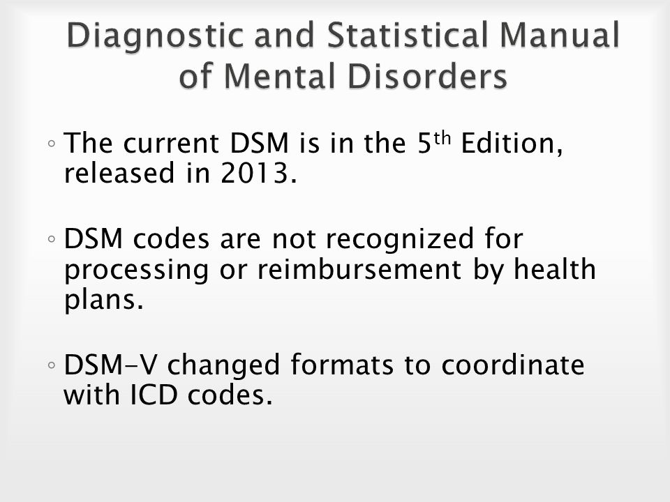 a diagnosis and statistical manual of mental disorders in the medical research Dsm-5's integrated approach to diagnosis and classifications the upcoming fifth edition of the diagnostic and statistical manual of mental disorders (dsm-5) introduces an integration of a dimensional approach to diagnosis and classification with the.