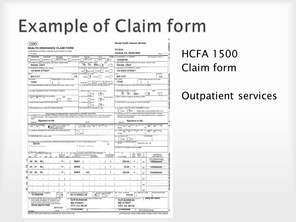 60 Example of Claim form HCFA 1500 Claim form Outpatient services
