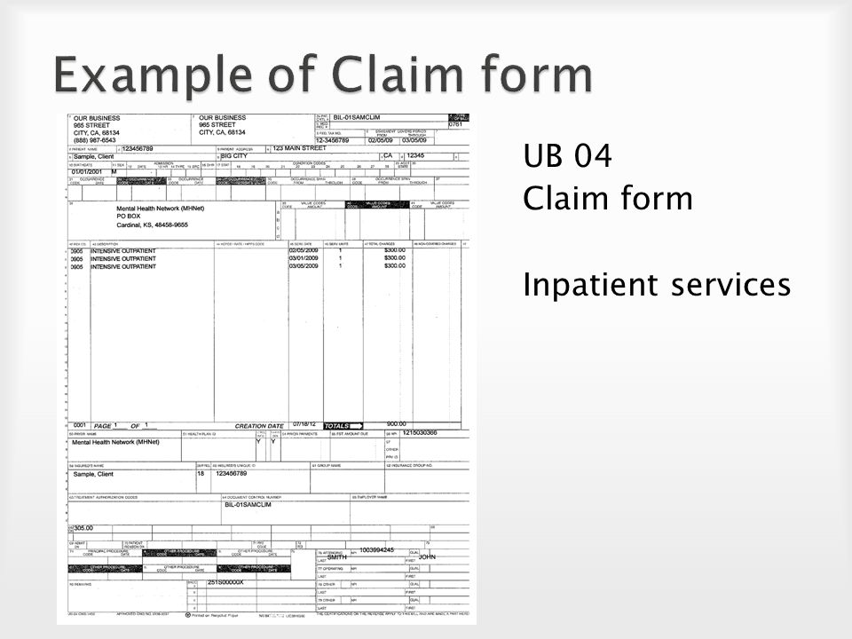 Claim Form Example