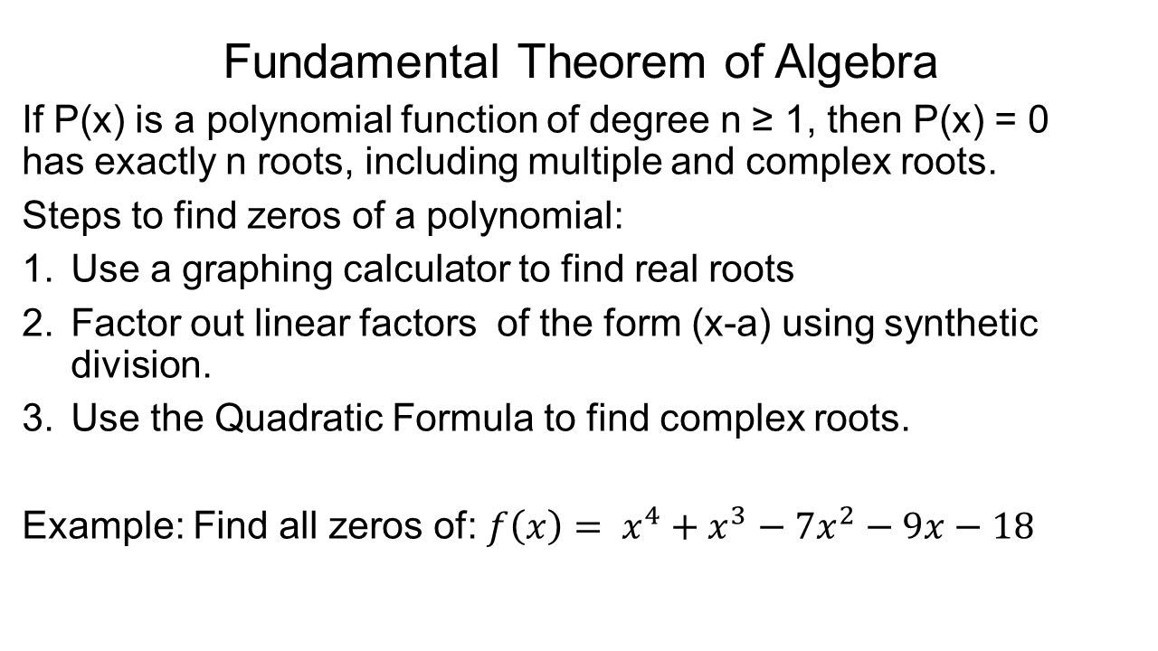 37 Fundamental Theorem Of Algebra