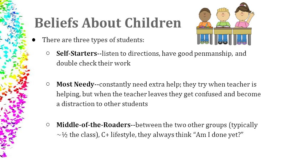 beliefs about students This i believe in the classroom  if you have questions about using this i believe with your students, please visit our educator faq page for answers donate.